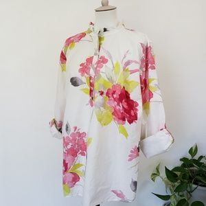 TALBOTS Woman Floral Half Button Down Popover Top